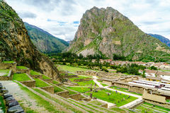 View of inca archaeological site with the Sun Temple Royalty Free Stock Photo