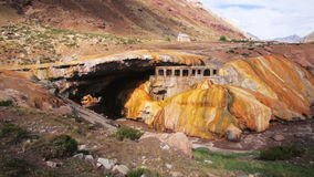 View on the Inca Bridge formation over the Vacas River in Argentina stock video footage