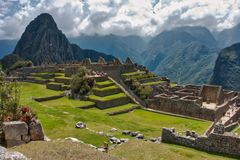 View of the Incan stone ruins at Machu Picchu royalty free stock photography