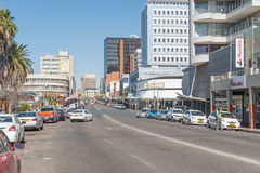View of Independence Avenue in Windhoek. WINDHOEK, NAMIBIA - JUNE 17, 2017: A view of Independence Avenue in Windhoek, the capital city of Namibia royalty free stock photo