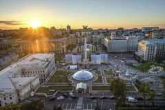 View of Independence Square Maidan Nezalezhnosti in Kiev, Ukraine Stock Image