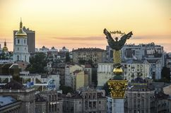 View of Independence Square Maidan Nezalezhnosti in Kiev, Ukraine stock photo