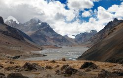 View from Indian himalayas - mountain and river valley Royalty Free Stock Photography