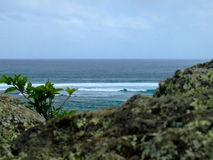 View for Indian Ocean, rock in foreground. Indian Ocean, rock in foreground La Morne, Mauritius Stock Image