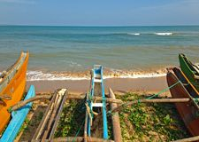 View on Indian Ocean shore and fishing boats. Sri Lanka royalty free stock photo