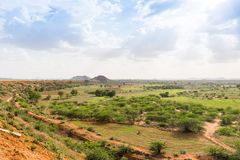 View of the indian rural landscape, Puttaparthi, Andhra Pradesh, India. Copy space for text. View of the indian rural landscape, Puttaparthi, Andhra Pradesh Stock Image