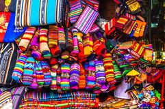 Indigenous clothes on market in La Paz - Bolivia. View on indigenous clothes on market in La Paz - Bolivia Stock Photos