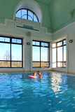 View of an indoor pool at a hotel Royalty Free Stock Images