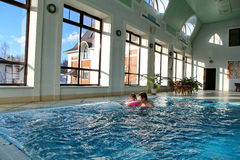 View of an indoor pool at a hotel Royalty Free Stock Image