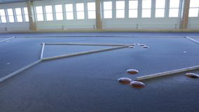 View of indoor racing track for radio controlled toy cars. New technology concept. Hobby concept.  stock video