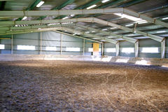 View an indoor riding arena backlight Royalty Free Stock Images