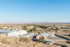 View of the industrial area of Keetmanshoop. KEETMANSHOOP, NAMIBIA - JUNE 13, 2017: A view of the industrial area of Keetmanshoop, the capital town of the Karas Stock Photo