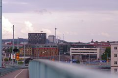 View of industrial city part in Gothenburg. Buildings seen from a bridge in Gothenburg city stock photos