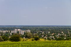 View on the industrial district in Kremenchug city Stock Photos