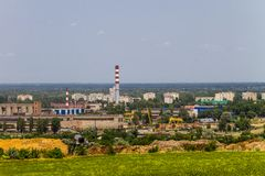 View on the industrial district in Kremenchug city. Ukraine Royalty Free Stock Image
