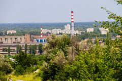 View on the industrial district in Kremenchug city Stock Image