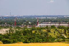 View on the industrial district in Kremenchug city. Ukraine Royalty Free Stock Photography