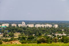View on the industrial district in Kremenchug city. Ukraine Royalty Free Stock Photos