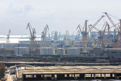 View of industrial port with cranes Royalty Free Stock Photos