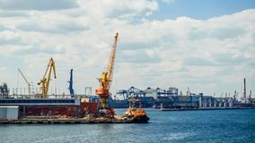 View of the industrial port. On a sunny day Royalty Free Stock Photography