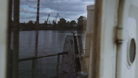 View of the industrial zone from side, old ship stock video footage