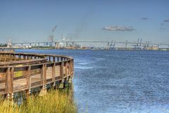 View of Industry from Riverfront Park Stock Photo