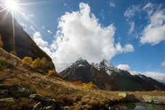 View of Ine peak and Dzhuguturluchat mountain at autumn stock image