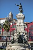 View at the Infante Dom Henrique Statue and Porto city on background stock photography