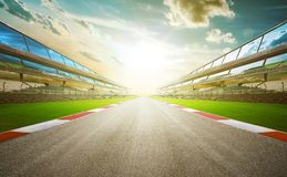 View of the infinity empty asphalt international race track. Digital imaging recomposition montage background . evening scene Royalty Free Stock Images