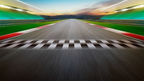 View of the infinity empty asphalt international race track. Night scene royalty free stock images