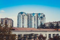 View of the inhabited multi-storey building in Georgia, Tbilisi royalty free stock photo