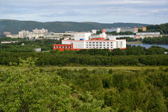View of the inhabited residential district of the city of Murmansk Stock Photo