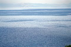 View of the inland sea of Corfu with the coasts of Albania as a background. In Greece stock photo