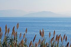 View of the inland sea of ​​Corfu with the coasts of Albania as a background. In Greece royalty free stock photos