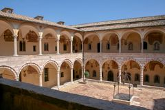 View of the inner courtyard of the Franciscan monastery in Assisi, Italy royalty free stock photography