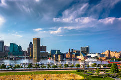 View of the Inner Harbor from Federal Hill in Baltimore, Marylan Stock Images