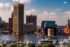 View of the Inner Harbor and skyline from Federal Hill Park, Baltimore, Maryland. stock image