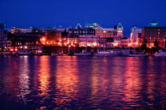 View of Inner Harbour shops at night, Victoria, BC Stock Image