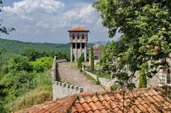 View of inner  part yard with bell tower in restored Montenegrin or Giginski monastery Royalty Free Stock Photos