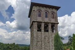 View of inner  part yard with  bell tower in restored Montenegrin or Giginski monastery. St. St. Cosmas and Damian, mountain  Kitka, Breznik, Pernik region Stock Image