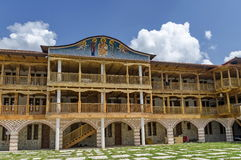 View of inner  part yard with new monastic house in restored Montenegrin or Giginski monastery. St. St. Cosmas and Damian, mountain  Kitka, Breznik, Pernik Stock Photography