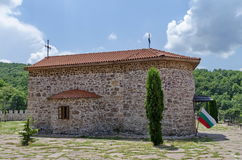 View of inner  yard with old medieval church  in restored Montenegrin or Giginski monastery Royalty Free Stock Photography