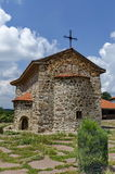 View of inner  yard with old medieval church  in restored Montenegrin or Giginski monastery Stock Images