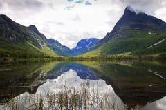 View of Innerdalen - Norway's most beautiful mountain valley. View of Innerdalen, often described as Norway's most beautiful mountain valley Royalty Free Stock Images