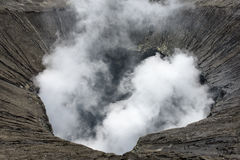View inside the active volcano crater at Mt. Bromo. Tengger Semeru National Park, Indonesia Stock Photos