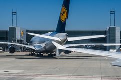 A parked Lufthansa Airbus A380 Stock Image