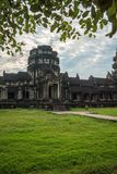 View from inside an Angkor Wat in Siem Reap, Cambodia. View from inside an Angkor Wat in cloudy day in Siem Reap, Cambodia Stock Photos