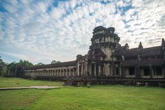 View from inside an Angkor Wat in Siem Reap, Cambodia. View from inside an Angkor Wat in cloudy day in Siem Reap, Cambodia stock photography
