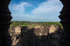 View from inside an Angkor Wat in Siem Reap, Cambodia. Beautiful view from inside an Angkor Wat in Siem Reap, Cambodia royalty free stock images