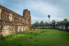 View from inside an Angkor Wat in Siem Reap, Cambodia. Beautiful view from inside an Angkor Wat in Siem Reap, Cambodia royalty free stock image